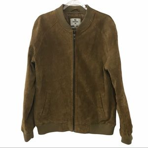 BellField Tan Suede Leather Bomber Jacket - XL